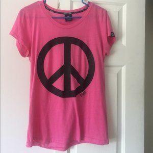 Victoria's Secret Pink Black Peace Sign Pink Tshrt